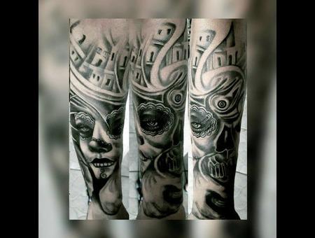 #Tattoo #Dövme #Blackandgray #Halfsleeve  Black Grey Arm
