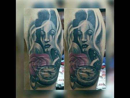 #Tattoo #Dövme #Blackandgray #Woman #Rose  Black Grey Arm