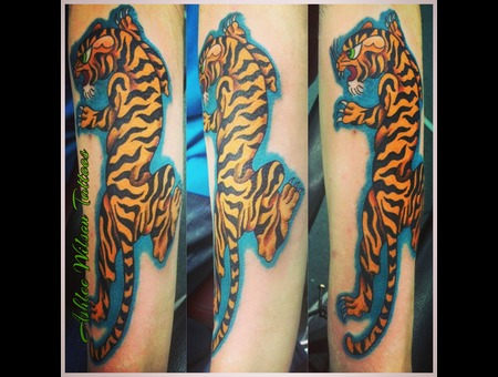 Traditional Tiger Tattoo  Tiger Tattoo  New School Traditional Tattoo Color Forearm