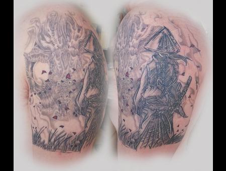 Samurai  Dragon  Healed  Detail Black Grey Arm