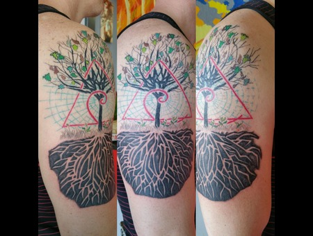 Tree  Roots  Meaning Of Life. Golden Spiral  Triangle Of Life Color Arm
