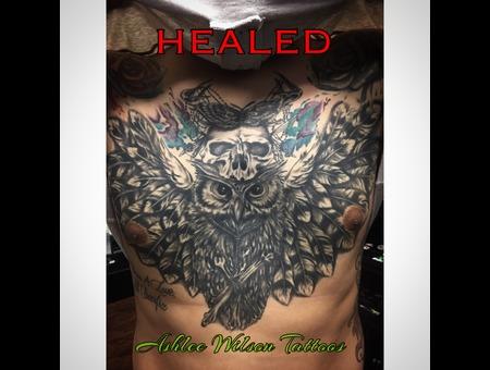 Black And Grey Tattoo  Owl Tattoos  Skull Tattoo Black Grey Chest