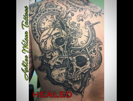Black And Grey Tattoo  Skull Tattoo  Clock Tattoo  Compass Tattoo Black Grey Back