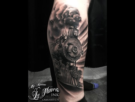 Locomotive  Steam  Train  Realistic  Tattoo Black Grey Lower Leg