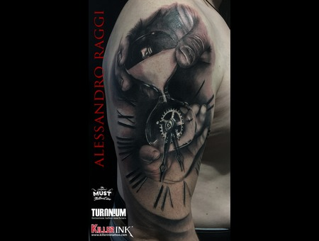 Clock  Realism Black And Gray  Black Grey Arm