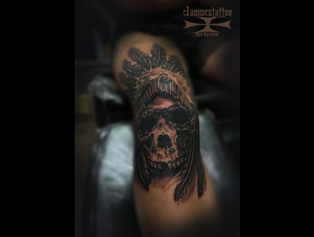 Skull Tattoo Jammestattoo Black Grey Lower Leg