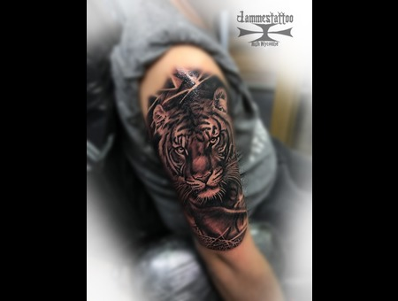 Tiger Jammestattoo Black Grey Arm