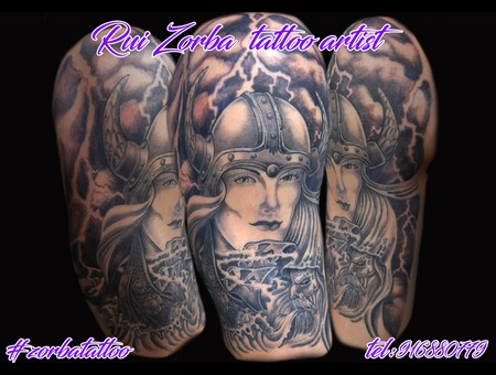 Viking Storm Halfsleeve Black Grey Shoulder