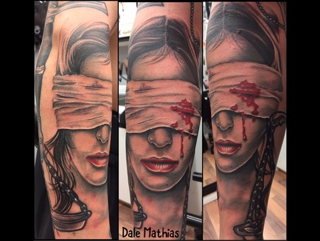 Portrait  Black And Grey  Realism  Blood  Blindfold  Portrait Black Grey Arm