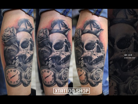 Tattoo  Ink  Black Grey Lower Leg