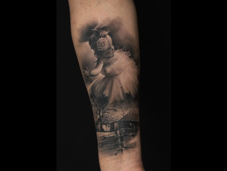 Child  Girl  Ballet  Realistic Black Grey Forearm