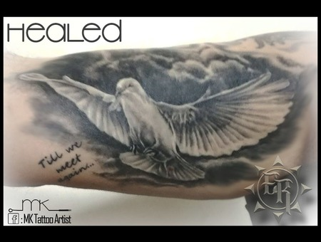 Realistic  Dove  Memorial  Healed  Clouds Black Grey Arm