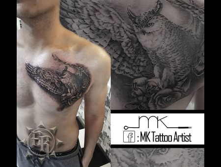 Realistic  Horned  Owl  Rose Black Grey Chest