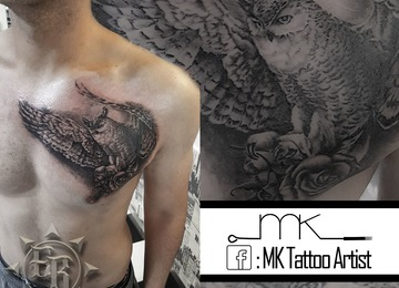 realistic, horned, owl, rose