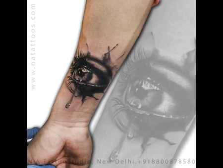 Realistic Eye Tattoo Natattoo Black Grey Forearm