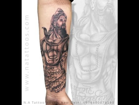 Shiva Tattoo Black Grey Forearm