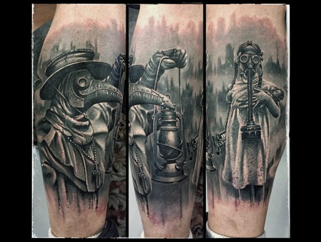 Plague Doctor  Black Grey Lower Leg