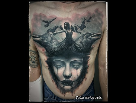 Portrait Gothic Crows Black Grey Chest