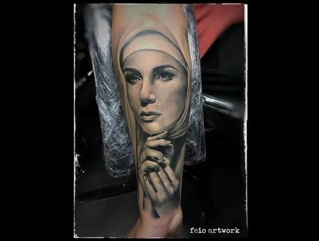 Faith Woman Black Grey Forearm