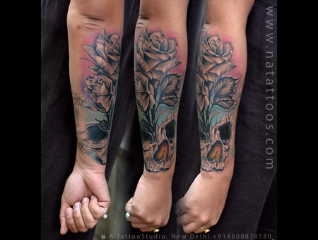 Skull  Rose  Tattoo  Natattoo  Tattooindelhi  India  Color Color Forearm