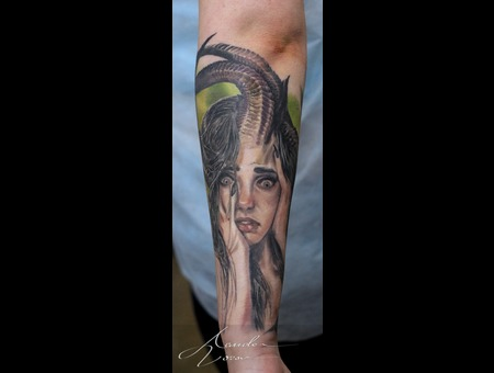 Girl  Horny  Horns  Healed  Healedtattoo Color Forearm