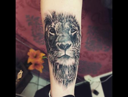 Lion Tattoo Black Grey Forearm