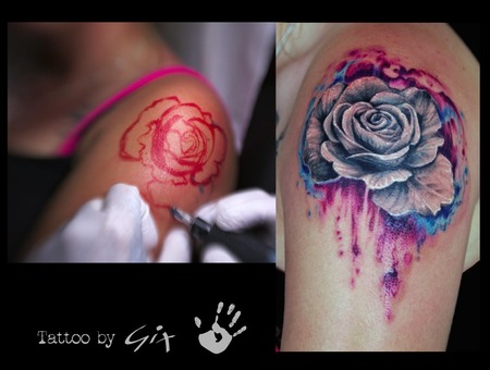 Freehand  Rose  Watercolor Color Arm