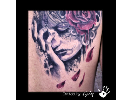 Cover Up  Realistic  Catrina  Roses  Beauty Black Grey Back