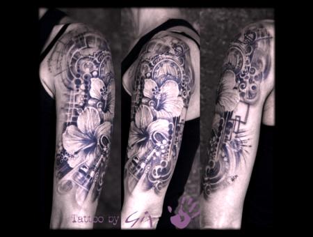 Hibiscus  Flower  Key  Clock  Realistic  Graphic Black Grey Arm