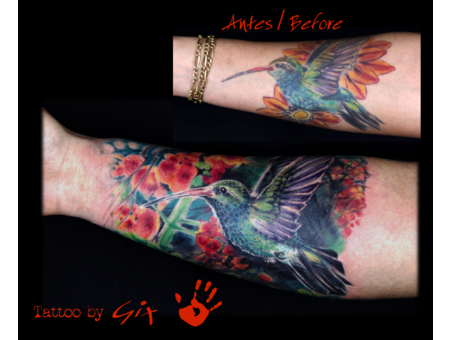 Hummingbird  Realistic  Cover Up  Flowers  Colibri Color Forearm