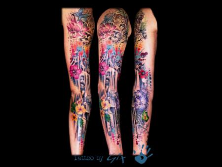 Graphic  Watercolor  Dog  Flower  Leopard Color Arm
