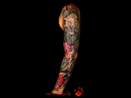Realistic  Flower  Leopard  Parrot   Color Arm