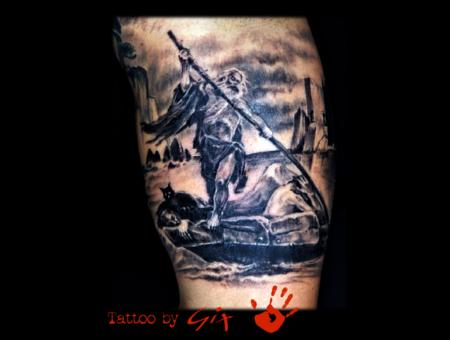 Caronte  Mythology  Greek  Death  Realistic Black Grey Arm