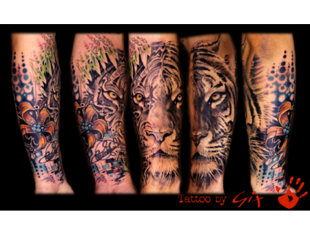 Tiger  Cover Up  Freestyle  Realistic Color Forearm
