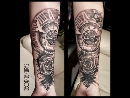 Clock  Time  Birds  Rose Black Grey Arm