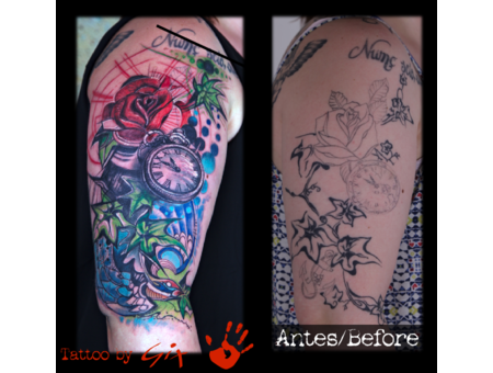 Cover Up  Freestyle  Clock. Rose  Bird  Abstract Color Arm