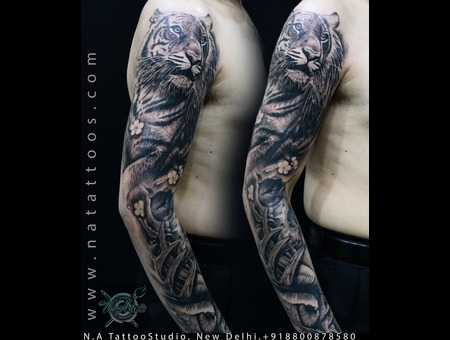 Tiger  Sleeve  Eye  Bio  Bioorganic  Realistic  Tattoo  Natattoostudio Black Grey Arm