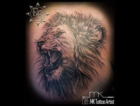 Realistic  Lion  Portrait  King  Roar  Chest Black Grey Chest