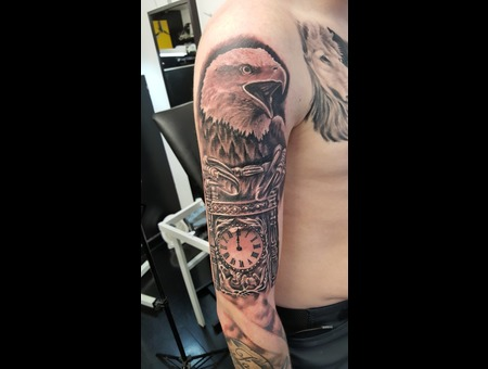 Eagle Watch Realistic Blackandgrey Black Grey Arm