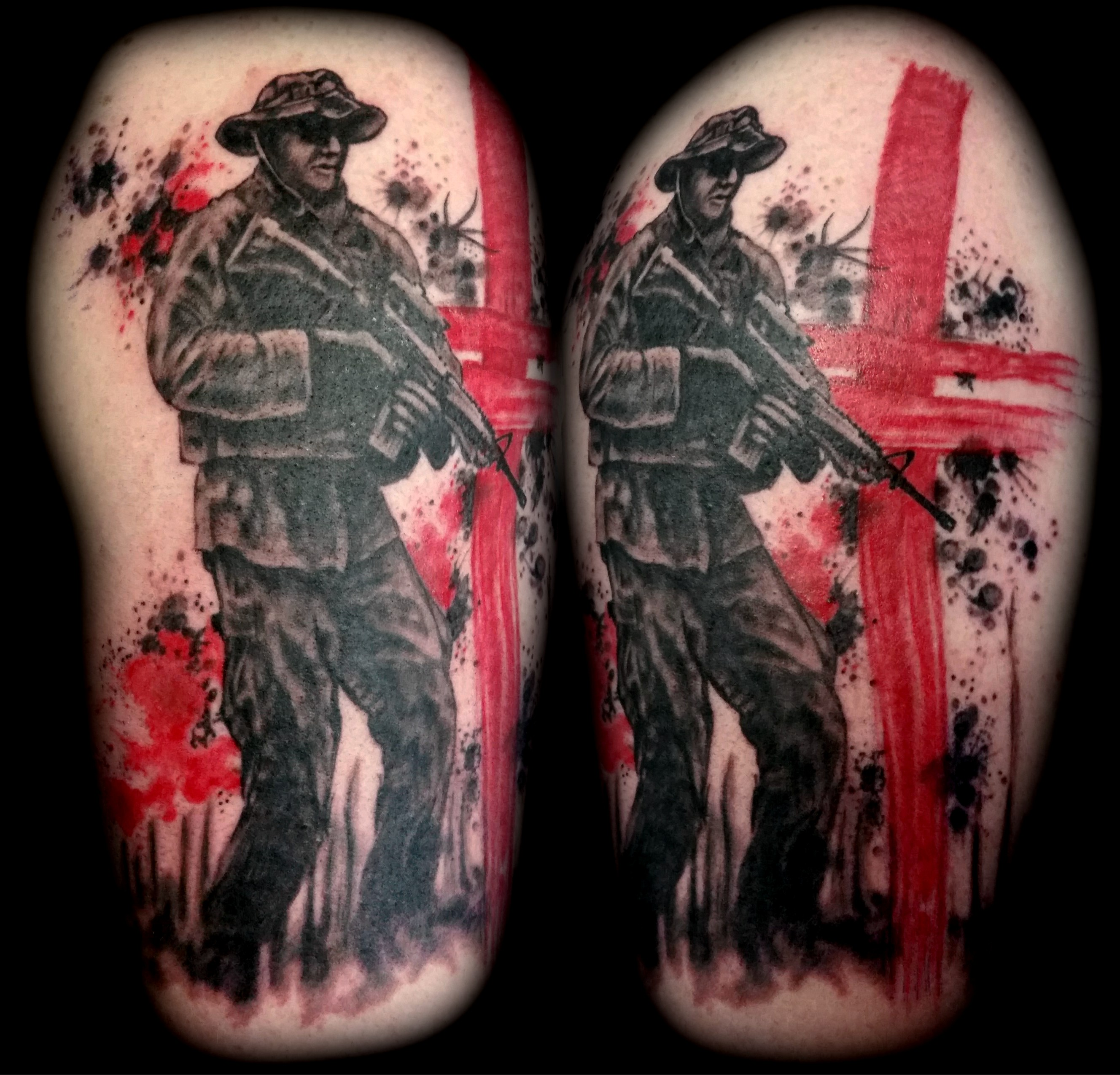 b063fc62b Soldier Military Trash Polka Brush Stroke Black Grey Arm