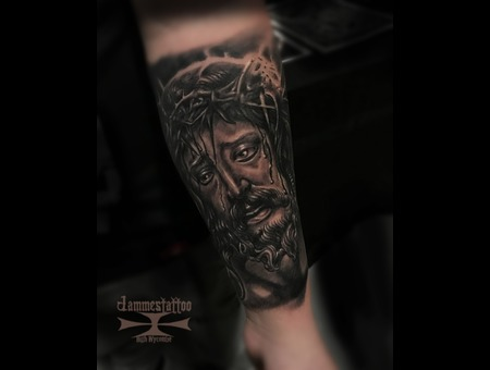 Jesus Religies Tattoo Jammestattoo Black Grey Forearm
