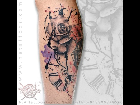 Clock  Tattoo  Natattoo  Best  Tattoostudio  Studio  Delhi  Newdelhi  India Color Lower Leg