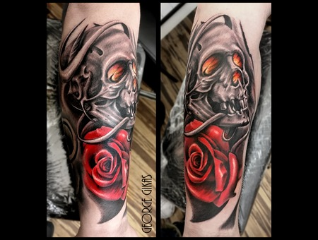 Skull  Rose Color Arm