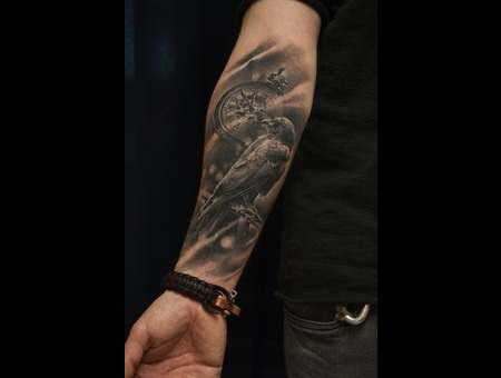 Crow  Raven Black Grey Forearm