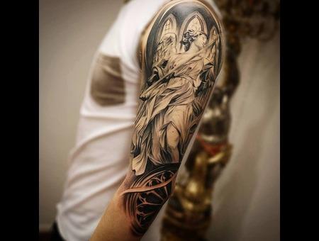 Angel Tattoo Black Grey Arm