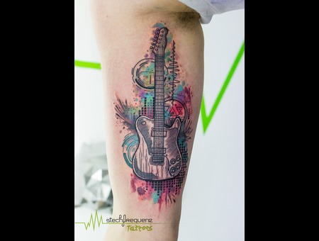 Guitar  Music  Abstract  Sketch  Watercolor  Graphics Color Arm