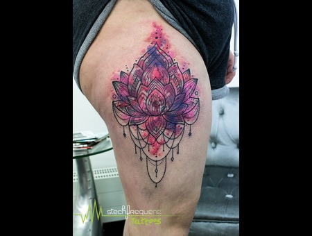 Mandala  Lotus  Flower  Watercolor Color Thigh