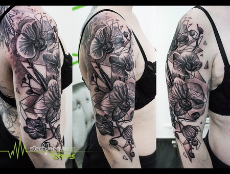 Orchid  Flowers  Blackandgrey  Realistic  Abstract  Lines Black Grey Arm