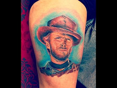 Color Portrait Tattoo Color Thigh