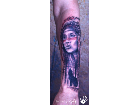 Native American  Wolf  Forest  Beauty  Black Grey Forearm